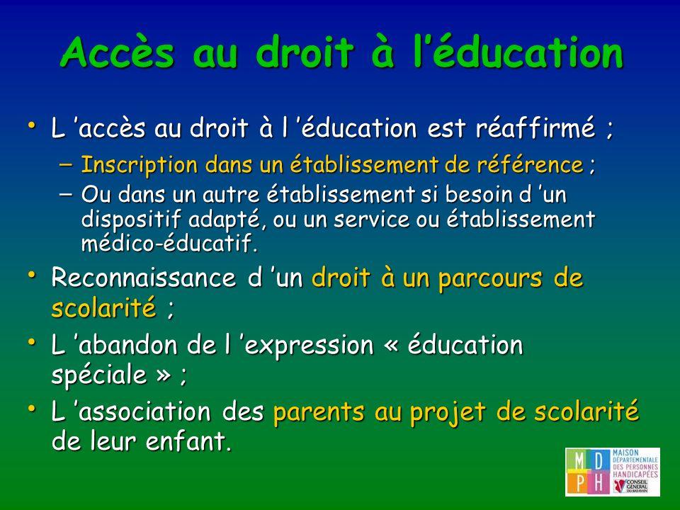 Accès au droit à l'éducation