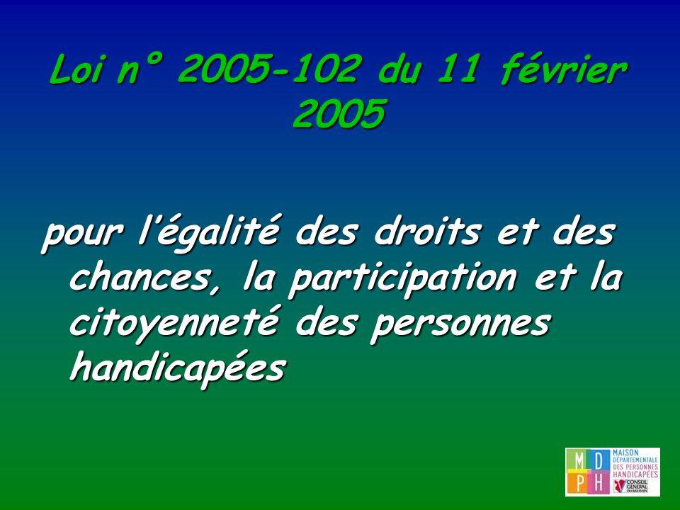 Loi n° 2005-102 du 11 février 2005 pour l'égalité des droits et des chances, la participation et la citoyenneté des personnes handicapées.