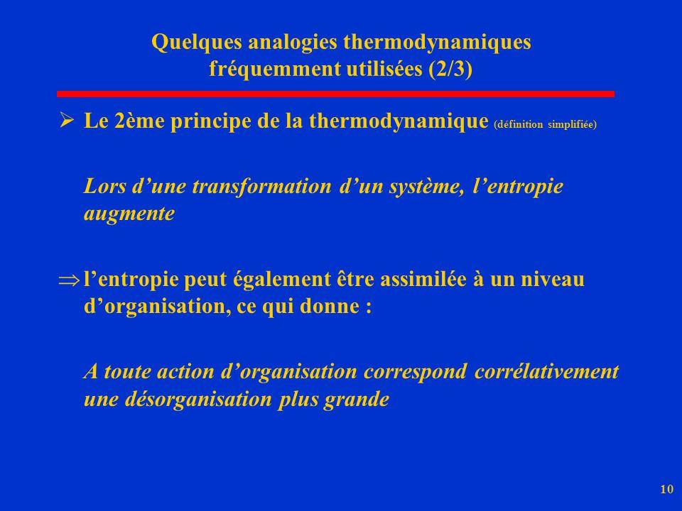 Quelques analogies thermodynamiques fréquemment utilisées (2/3)