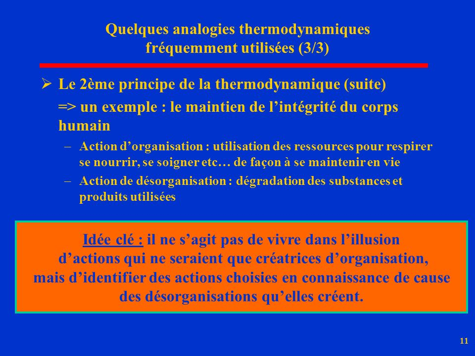 Quelques analogies thermodynamiques fréquemment utilisées (3/3)