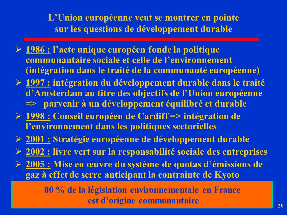 2001 : Stratégie européenne de développement durable