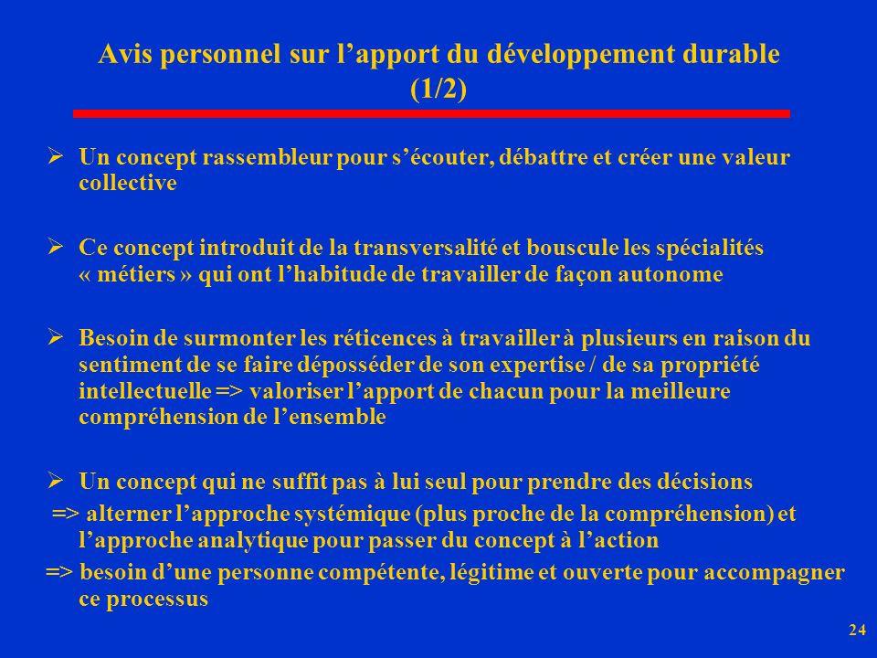 Avis personnel sur l'apport du développement durable (1/2)