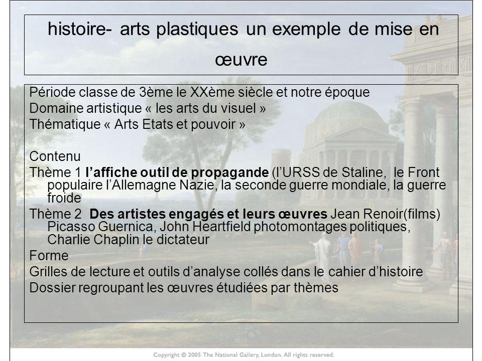 histoire- arts plastiques un exemple de mise en œuvre