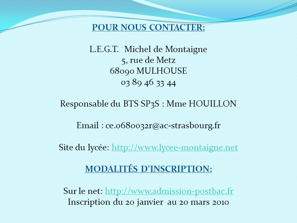 MODALITÉS D'INSCRIPTION: