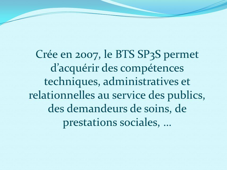 Crée en 2007, le BTS SP3S permet d'acquérir des compétences techniques, administratives et relationnelles au service des publics, des demandeurs de soins, de prestations sociales, …