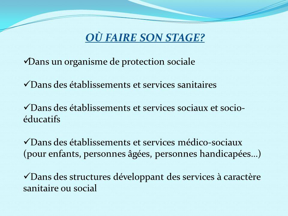 OÙ FAIRE SON STAGE Dans un organisme de protection sociale
