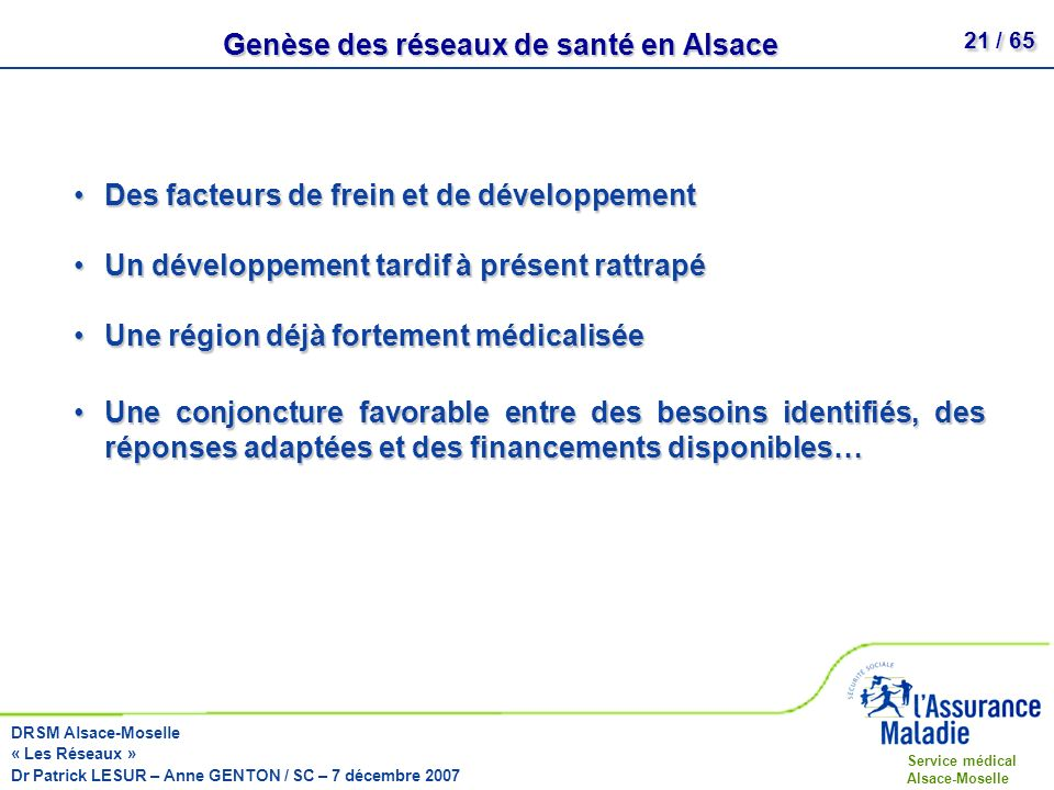 Genèse des réseaux de santé en Alsace