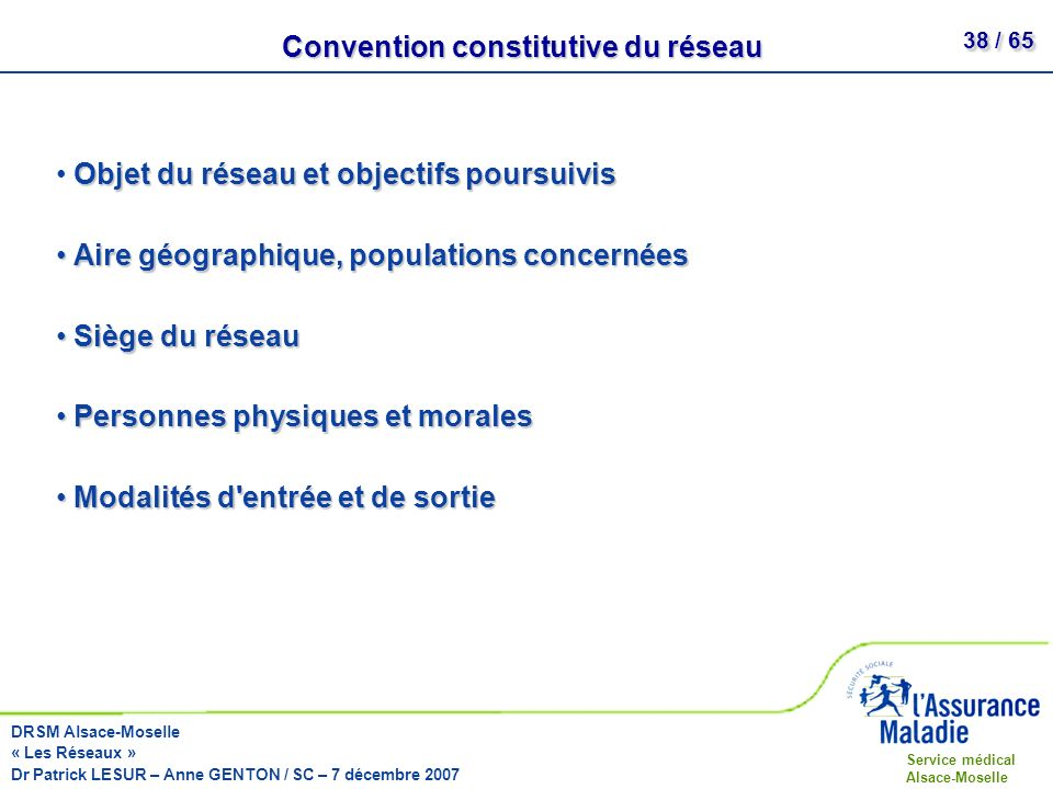 Convention constitutive du réseau