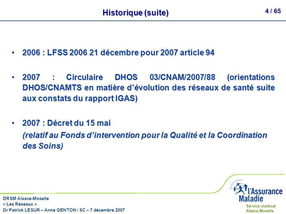 Historique (suite) 2006 : LFSS 2006 21 décembre pour 2007 article 94.