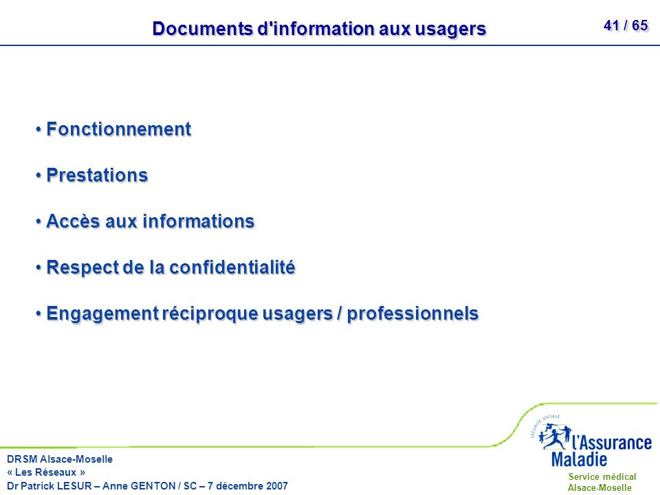 Documents d information aux usagers