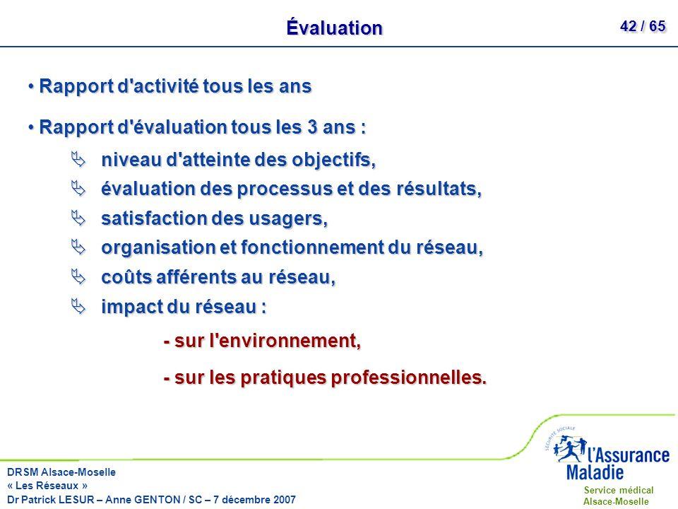 Évaluation Rapport d activité tous les ans. Rapport d évaluation tous les 3 ans : niveau d atteinte des objectifs,