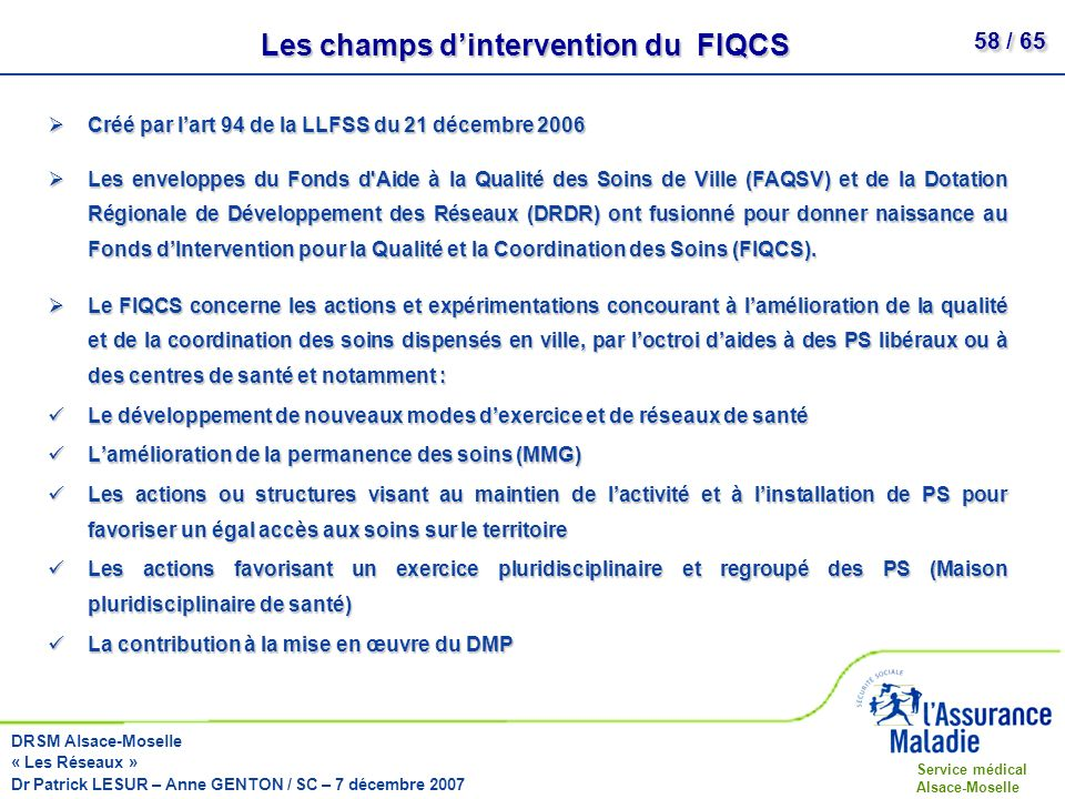 Les champs d'intervention du FIQCS