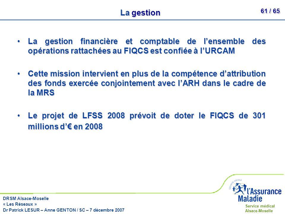 La gestion La gestion financière et comptable de l'ensemble des opérations rattachées au FIQCS est confiée à l'URCAM.