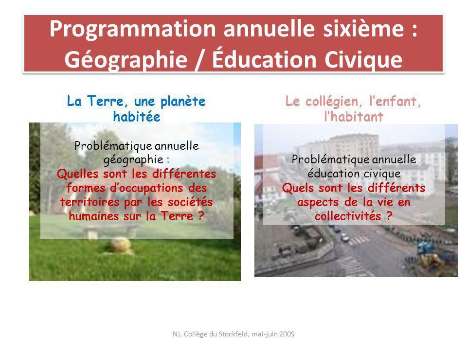 Programmation annuelle sixième : Géographie / Éducation Civique