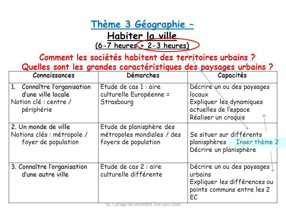 Thème 3 Géographie – Habiter la ville (6-7 heures + 2-3 heures)