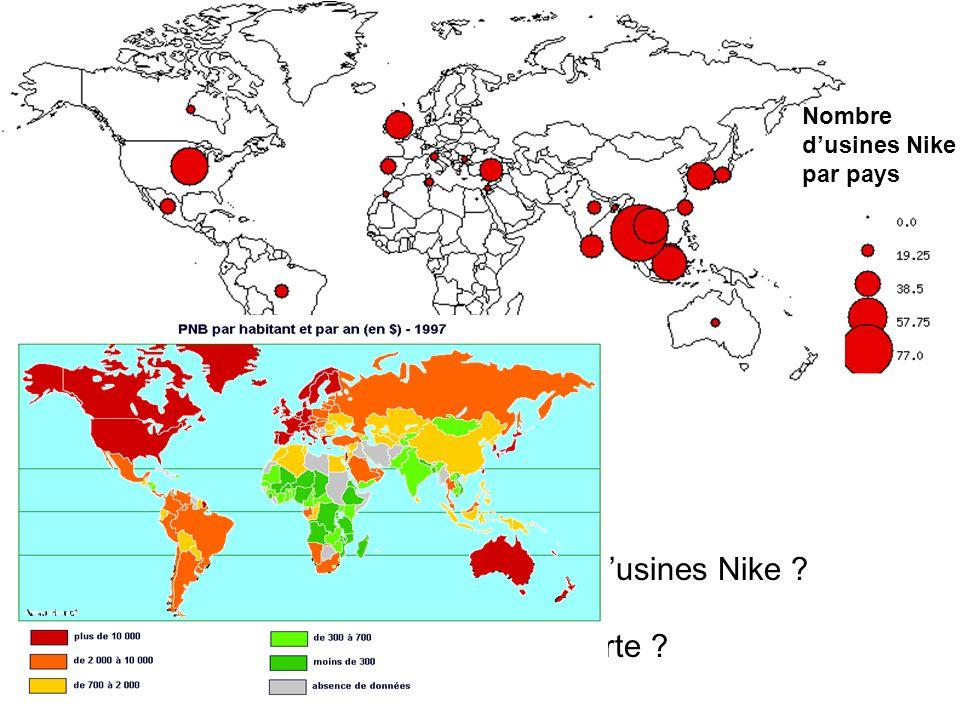 Quel est le continent où se situe le plus d'usines Nike
