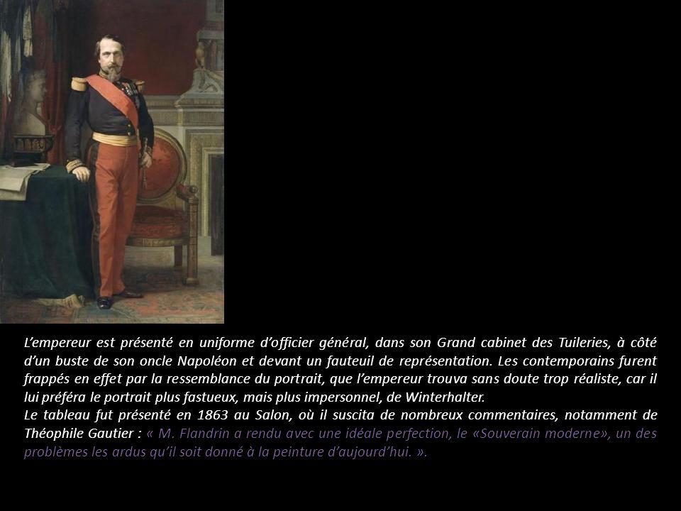 L'empereur est présenté en uniforme d'officier général, dans son Grand cabinet des Tuileries, à côté d'un buste de son oncle Napoléon et devant un fauteuil de représentation. Les contemporains furent frappés en effet par la ressemblance du portrait, que l'empereur trouva sans doute trop réaliste, car il lui préféra le portrait plus fastueux, mais plus impersonnel, de Winterhalter.