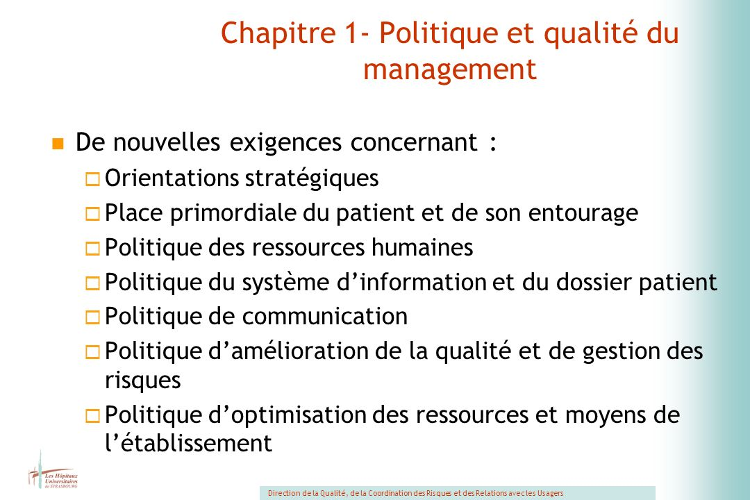 Chapitre 1- Politique et qualité du management