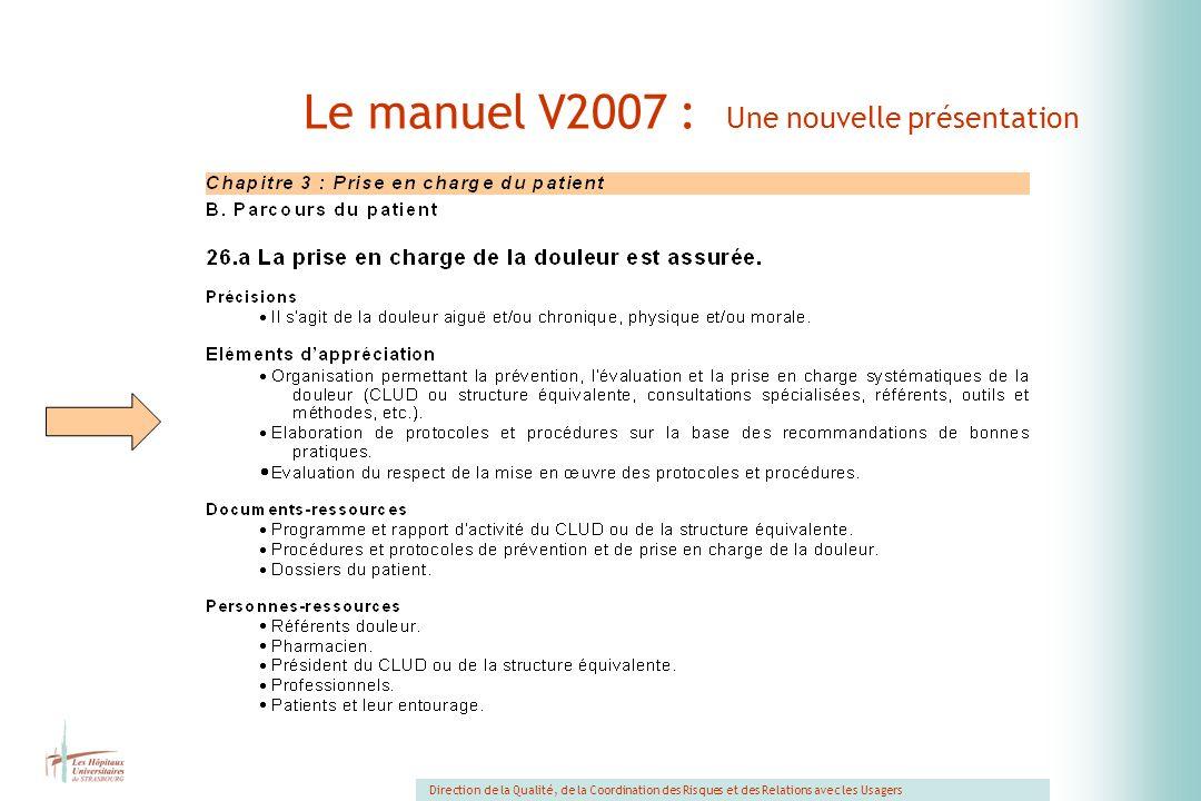Le manuel V2007 : Une nouvelle présentation