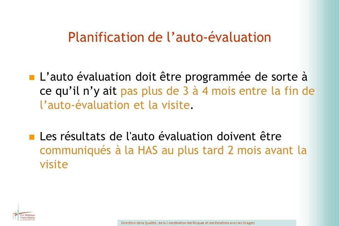 Planification de l'auto-évaluation