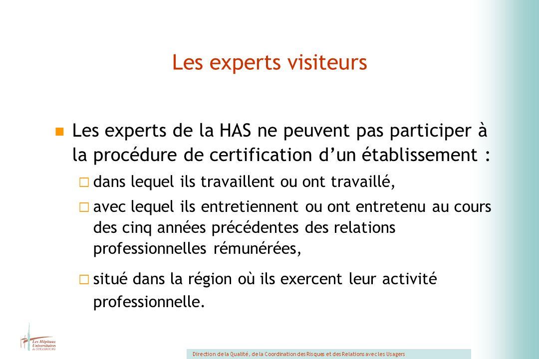 Les experts visiteurs Les experts de la HAS ne peuvent pas participer à la procédure de certification d'un établissement :