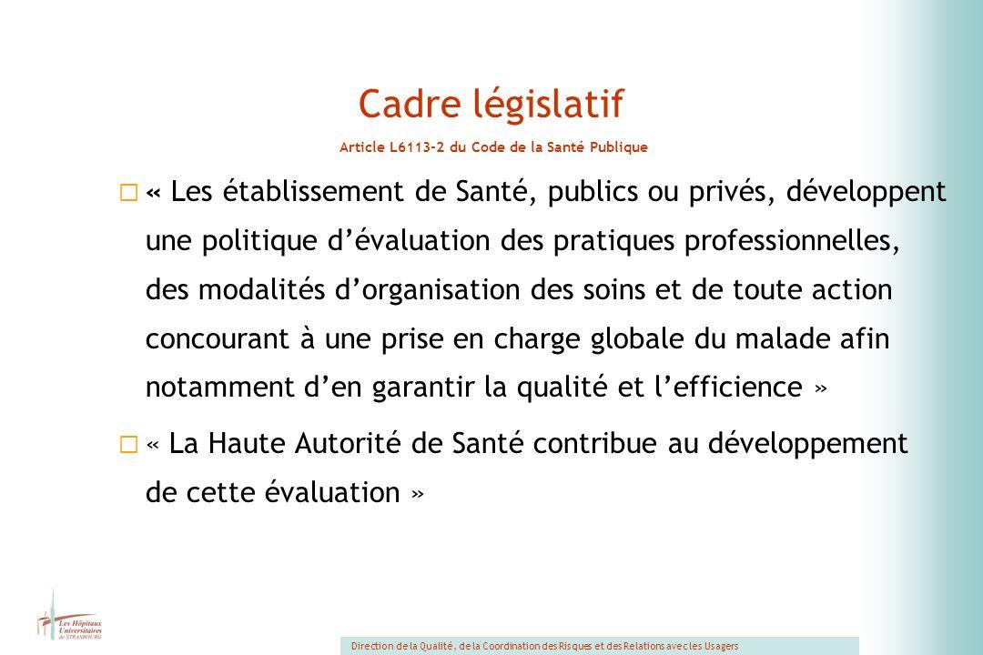Cadre législatif Article L6113-2 du Code de la Santé Publique