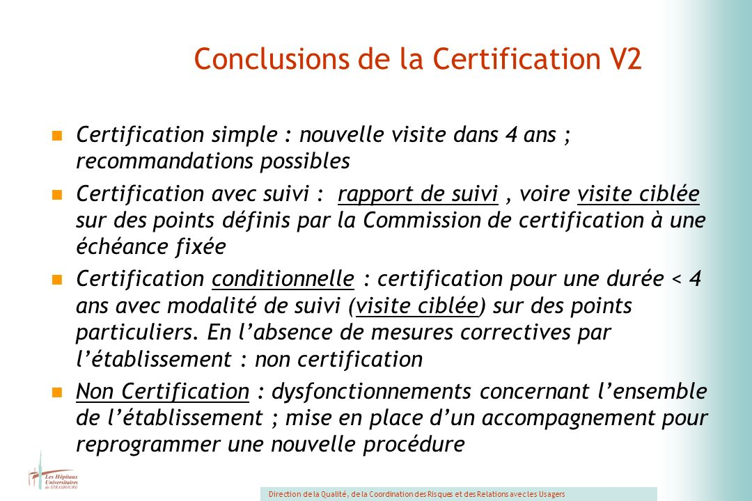 Conclusions de la Certification V2