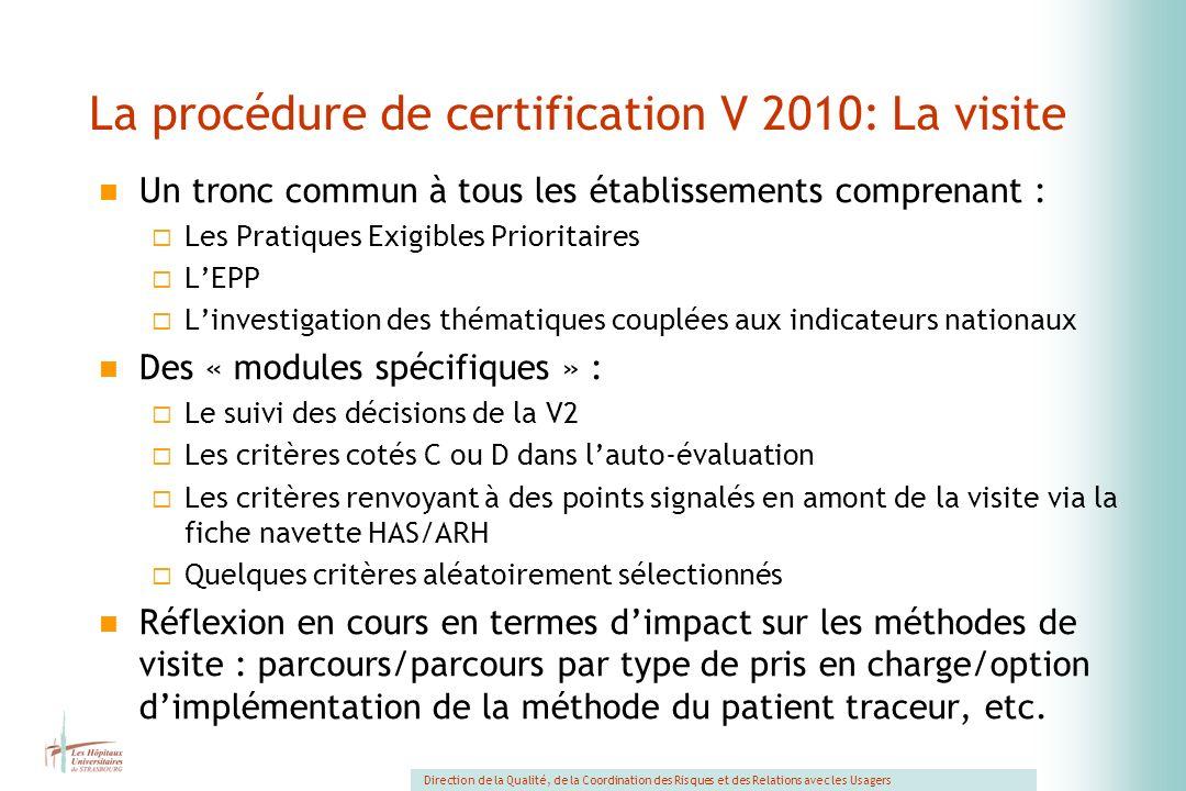 La procédure de certification V 2010: La visite