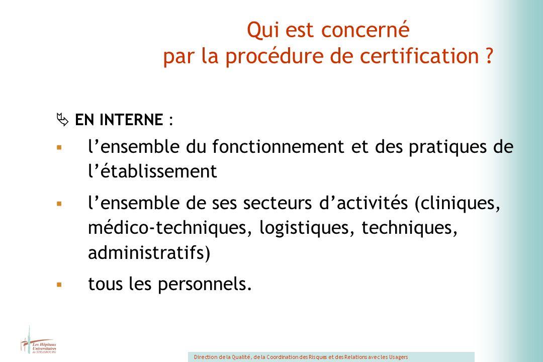 Qui est concerné par la procédure de certification
