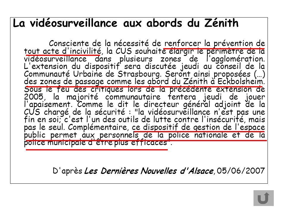 La vidéosurveillance aux abords du Zénith