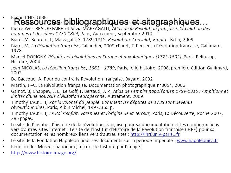 Ressources bibliographiques et sitographiques…