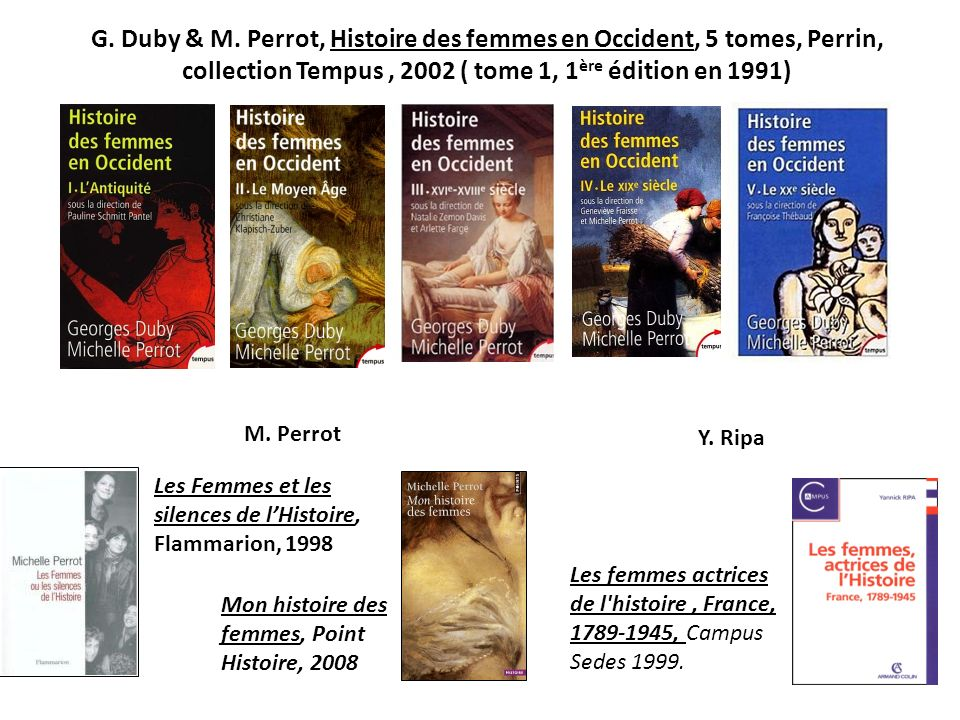 G. Duby & M. Perrot, Histoire des femmes en Occident, 5 tomes, Perrin,