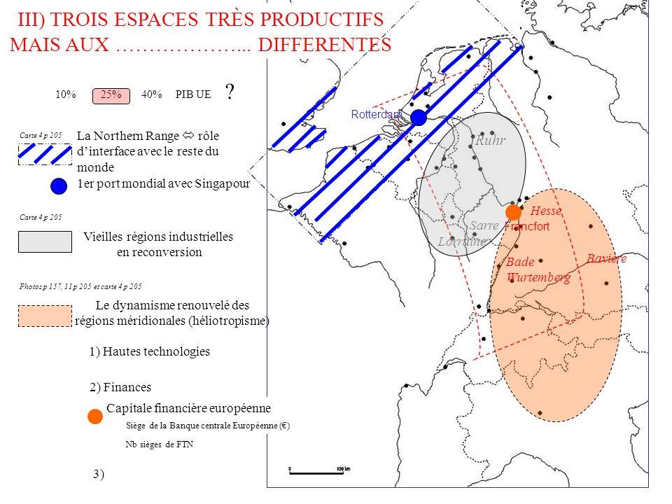 III) TROIS ESPACES TRÈS PRODUCTIFS MAIS AUX ………………... DIFFERENTES