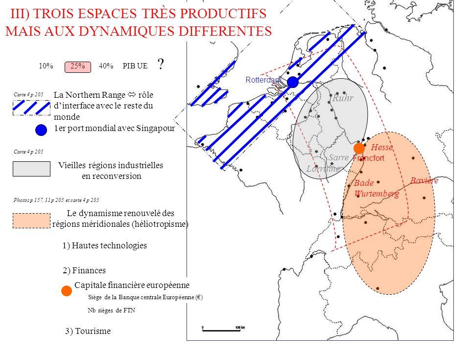III) TROIS ESPACES TRÈS PRODUCTIFS MAIS AUX DYNAMIQUES DIFFERENTES