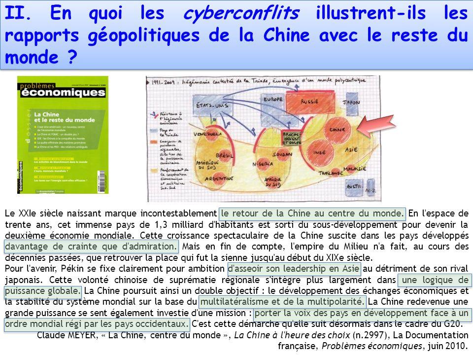 II. En quoi les cyberconflits illustrent-ils les rapports géopolitiques de la Chine avec le reste du monde