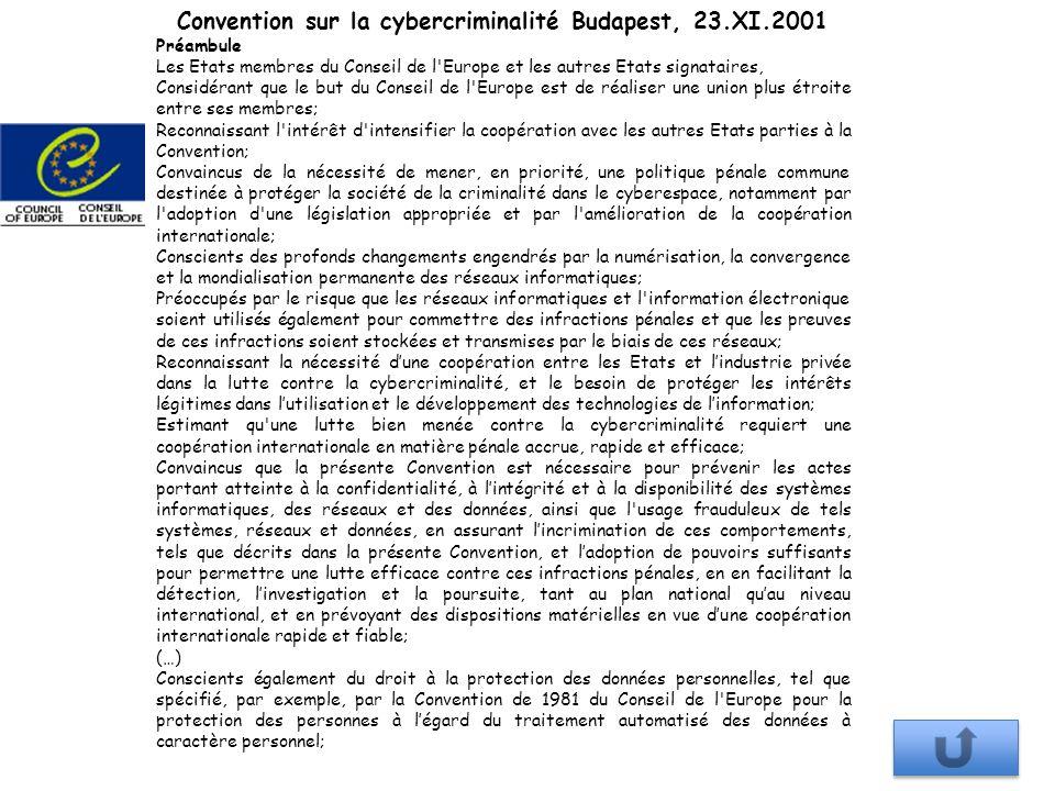 Convention sur la cybercriminalité Budapest, 23.XI.2001