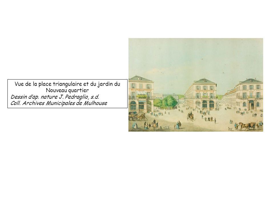 Vue de la place triangulaire et du jardin du Nouveau quartier