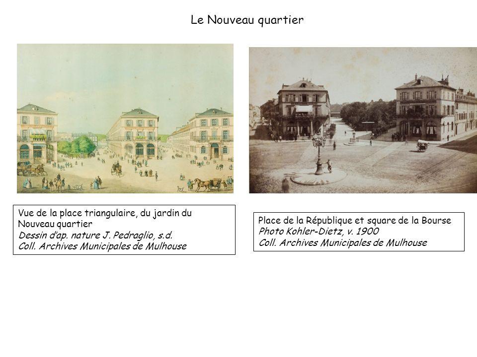 Le Nouveau quartier Vue de la place triangulaire, du jardin du Nouveau quartier. Dessin d'ap. nature J. Pedraglio, s.d.