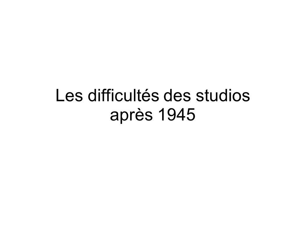 Les difficultés des studios