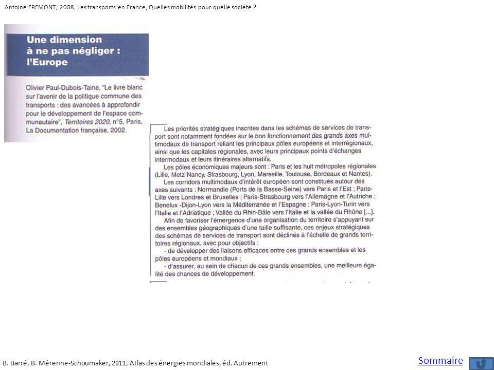 Antoine FREMONT, 2008, Les transports en France, Quelles mobilités pour quelle société