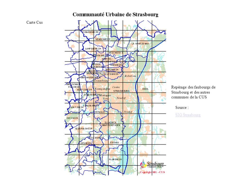 Carte Cus Repérage des faubourgs de Strasbourg et des autres communes de la CUS.
