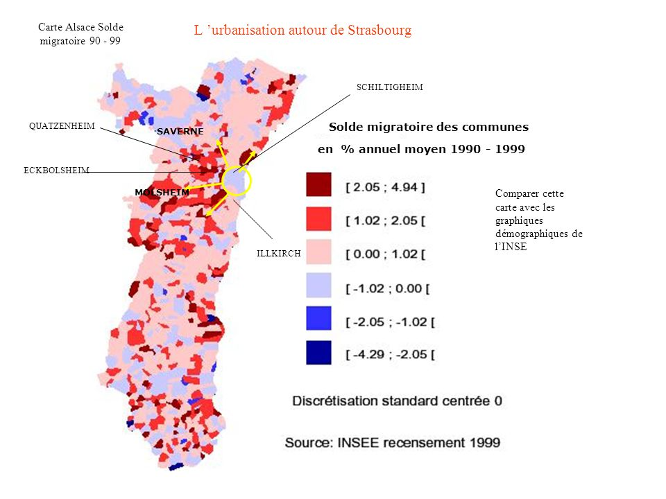 Carte Alsace Solde migratoire 90 - 99