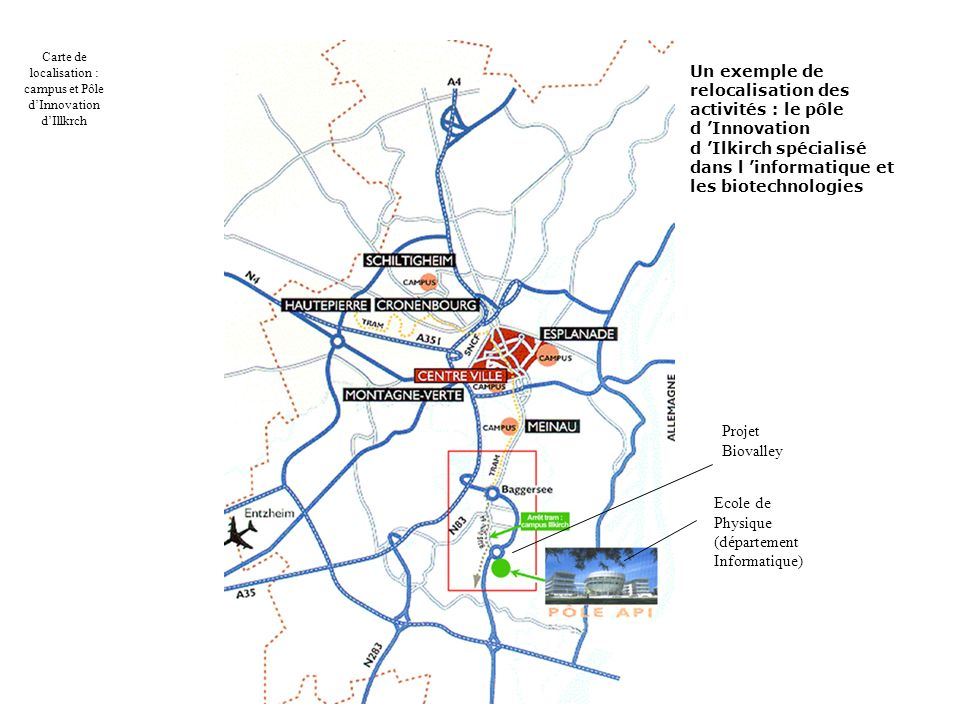 Carte de localisation : campus et Pôle d'Innovation d'Illkrch