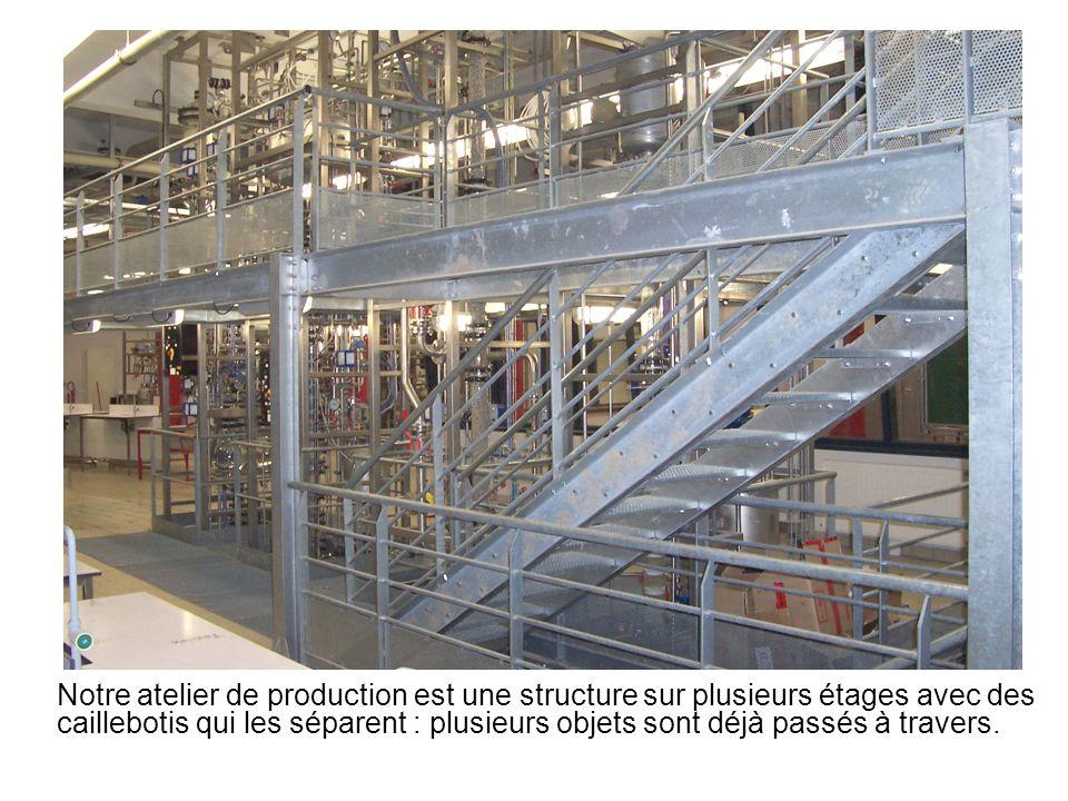 Notre atelier de production est une structure sur plusieurs étages avec des caillebotis qui les séparent : plusieurs objets sont déjà passés à travers.