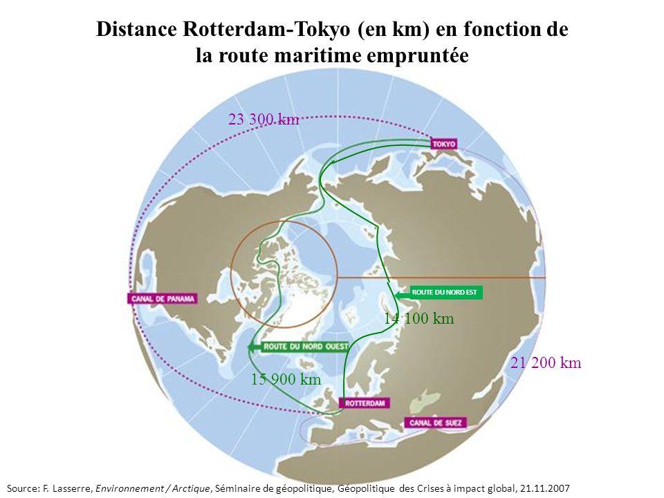 Distance Rotterdam-Tokyo (en km) en fonction de la route maritime empruntée
