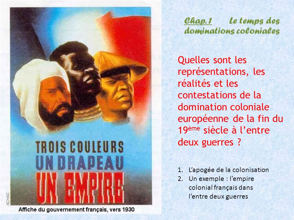 Chap. 1 Le temps des dominations coloniales