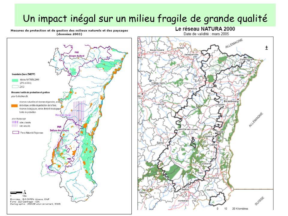 Un impact inégal sur un milieu fragile de grande qualité