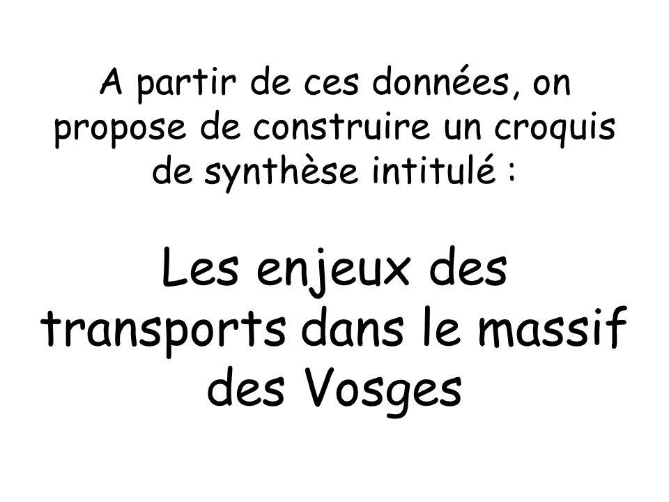 A partir de ces données, on propose de construire un croquis de synthèse intitulé : Les enjeux des transports dans le massif des Vosges