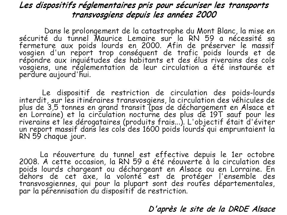 Les dispositifs réglementaires pris pour sécuriser les transports transvosgiens depuis les années 2000
