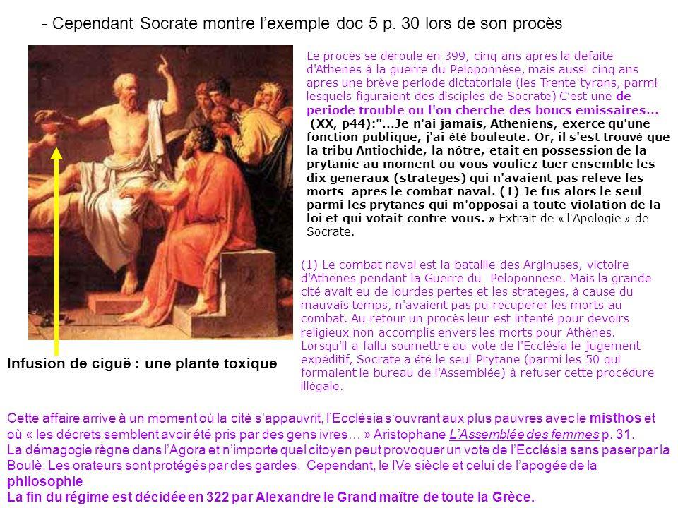 - Cependant Socrate montre l'exemple doc 5 p. 30 lors de son procès